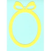 Основа за картичка, овал, жълто, 10см/14,5 см