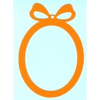 Основа за картичка, овал, оранж, 10см/14,5 см