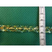 Ширит, златно и зелено, с пайети, 10 мм