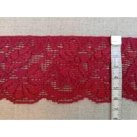 Ластична дантела, цвят бордо - цветя, 6 см