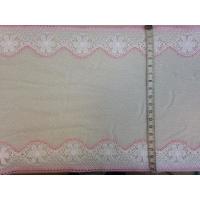Ластична дантела, бяло и розово, 20 см