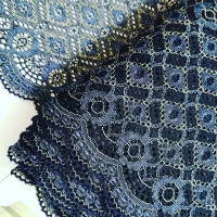 Еластична дантела синьо и екрю, 16 см