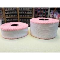 Лента, цвят - бял с розов кант