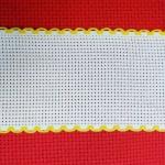 Лента, цвят бял с жълт кант