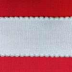 Лента, цвят - бял със сребрист кант